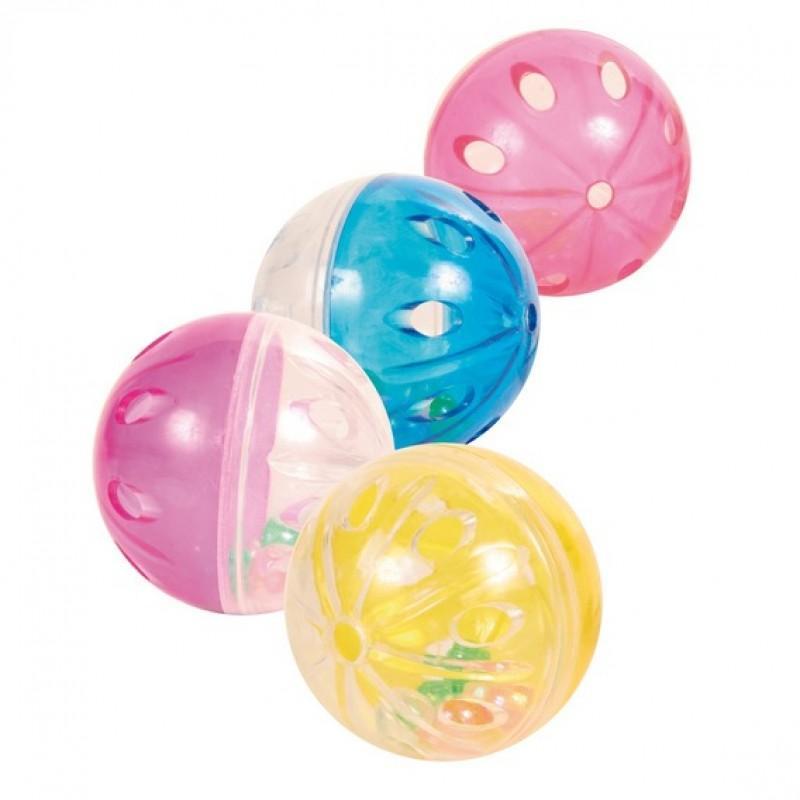 Trixie Set of Rattling Balls - игрушка для кошек Набор пластиковых шариков с погремушкой, 4,5 см (набор 4 шт)