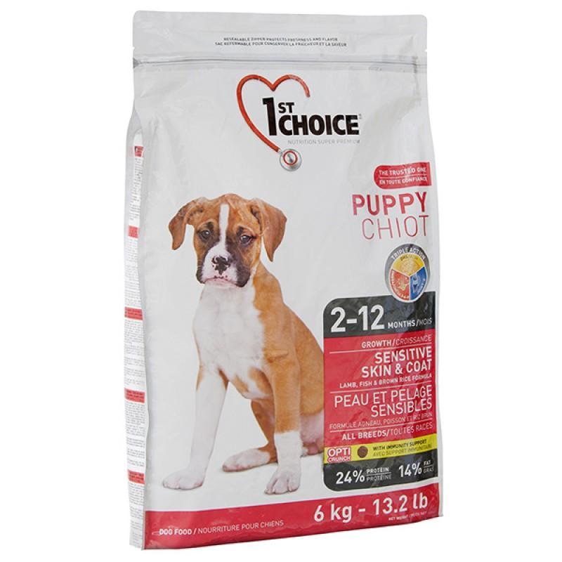 Сухой супер-премиум корм для щенков 1st Choice Puppy Sensitive Skin & Coat Lamb & Fish, 2.72 кг ФЕСТ ЧОЙС С ЯГНЕНКОМ И ОКЕАНИЧЕСКОЙ РЫБОЙ