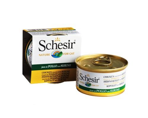 Schesir (Шезир) Chicken Surimi - натуральный влажный корм для кошек, кусочки филе курицы с сурими в желе, 85 г