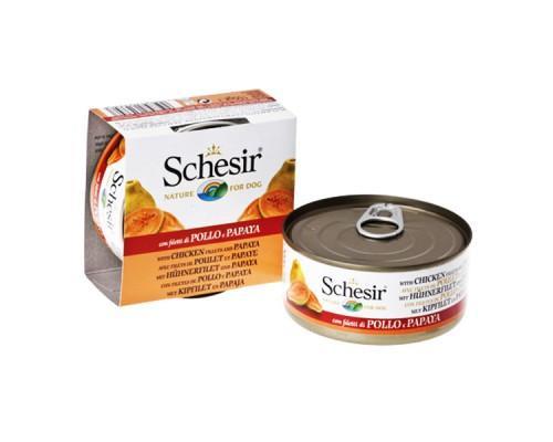 Schesir (Шезир) Chicken Papaya - влажный корм для собак с филе курицы и папайей в желе 150 г