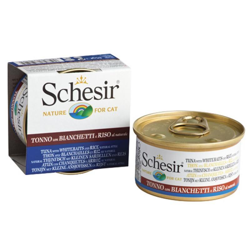 Schesir (Шезир) Tuna Whitebaits Natural Style - натуральный влажный корм для кошек с тунцом, мальками и рисом в собственном соку, 85 г